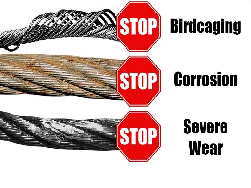 Sổ cáp, ăn mòn, mài mòn và mài mòn quá mức là một số vấn đề có thể ảnh hưởng đến dây cáp trên cầu trục. Cách tốt nhất để ngăn ngừa hư hỏng hoặc hỏng hóc là kiểm tra dây cáp thường xuyên.